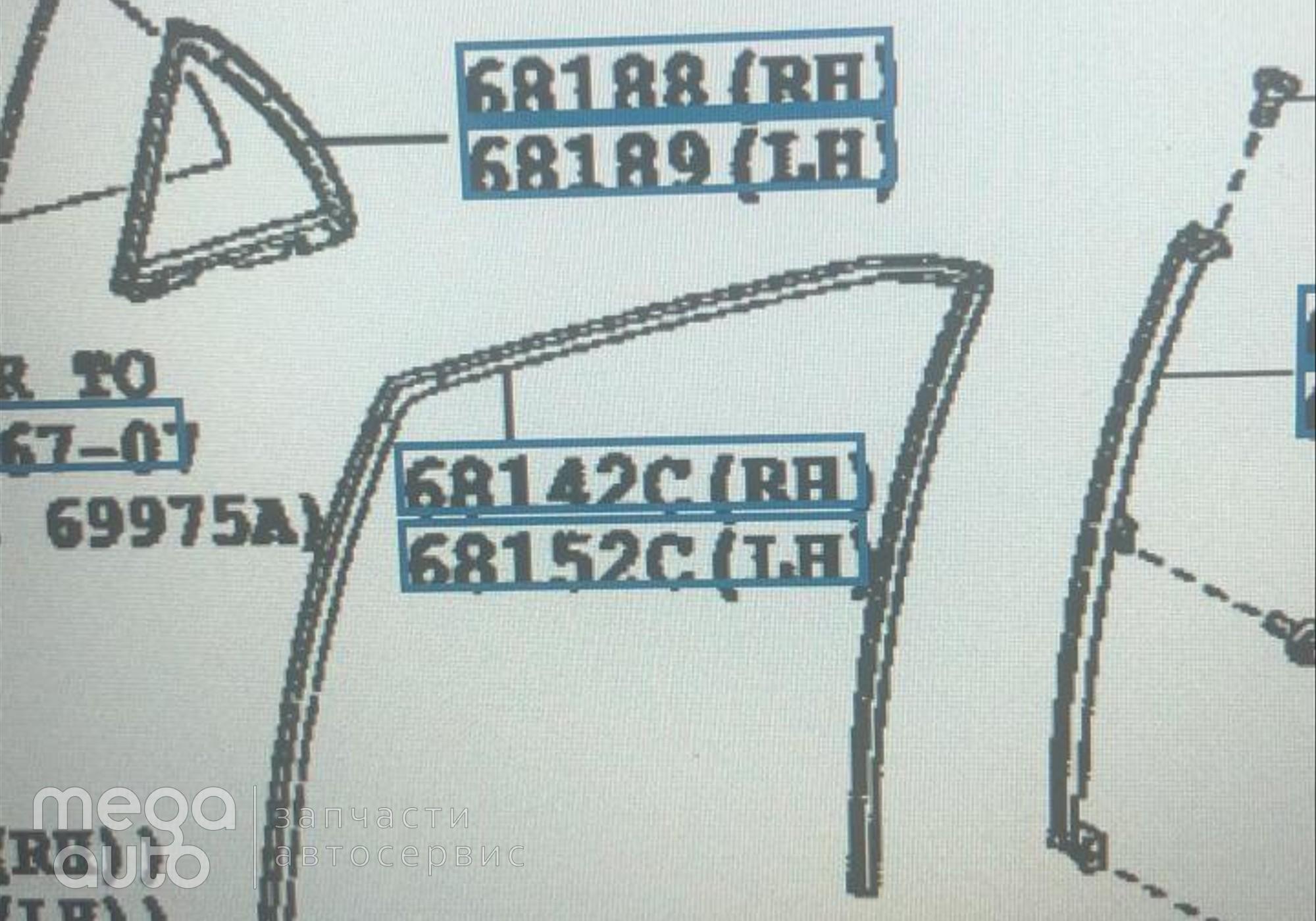 6814212290 Уплотнитель стекла правый для Toyota Corolla E140/E150 (с 2007 по 2013)